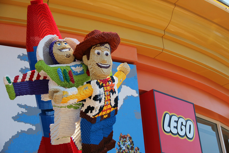 Replicas of Buzz and Woody are among the impressive models displayed on the exterior of the new Lego store.