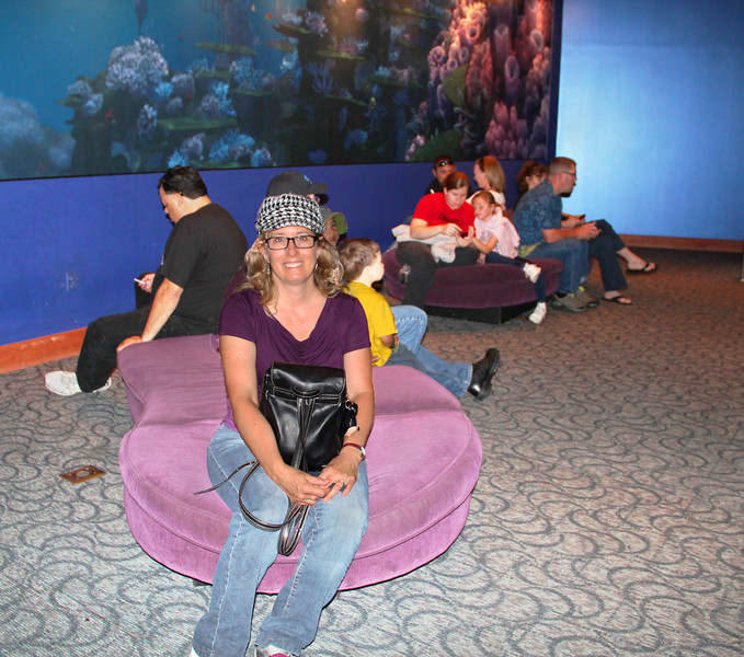 Fans of 'Turtle Time with Crush' know that the only seating in the pre-show vestibule has been the floor. Recently several 'totally awesome' couches have been added. These new couches are similar in design to the new couches located in the Animation Academy's central foyer. Although still inadequate in quantity, this addition is clearly appreciated by Crush's visitors. Dude!