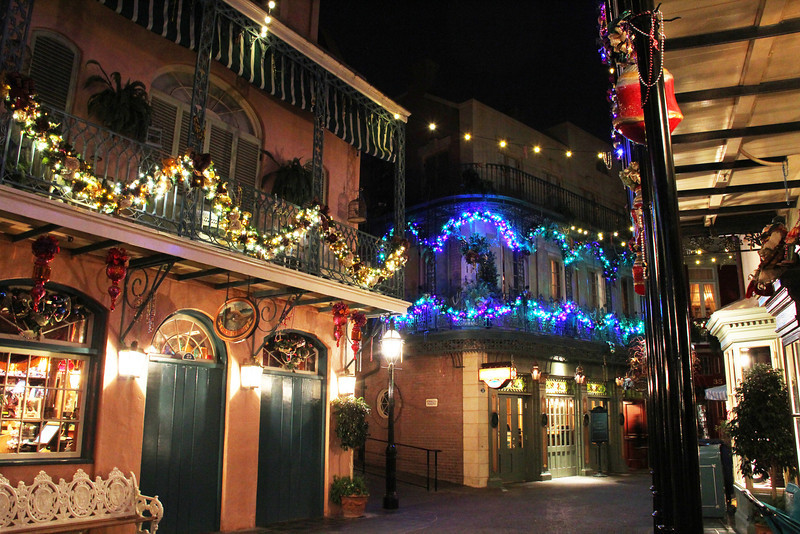 New Orleans Square is stunning at Christmas time.