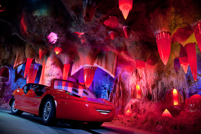 TAILLIGHT CAVERNS IN RADIATOR SPRINGS RACERS -- Cars Land features three immersive family attractions showcasing characters and settings from the Disney-Pixar film, 