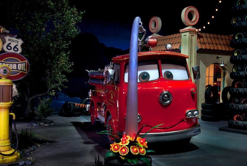 RED IN RADIATOR SPRINGS RACERS -- Cars Land features three immersive family attractions showcasing characters and settings from the Disney-Pixar film,