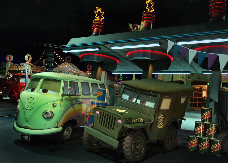 SARGE AND FILLMORE IN RADIATOR SPRINGS RACERS -- Cars Land features three immersive family attractions showcasing characters and settings from the Disney-Pixar film,