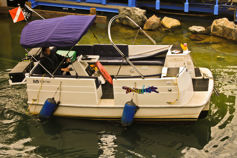 This is a World of Color Maintenance Dive Boat.  The flag on the top left corner is a Dive Flag.  It let's others know (usually other ships) to be careful or keep a distance because divers are in the water.