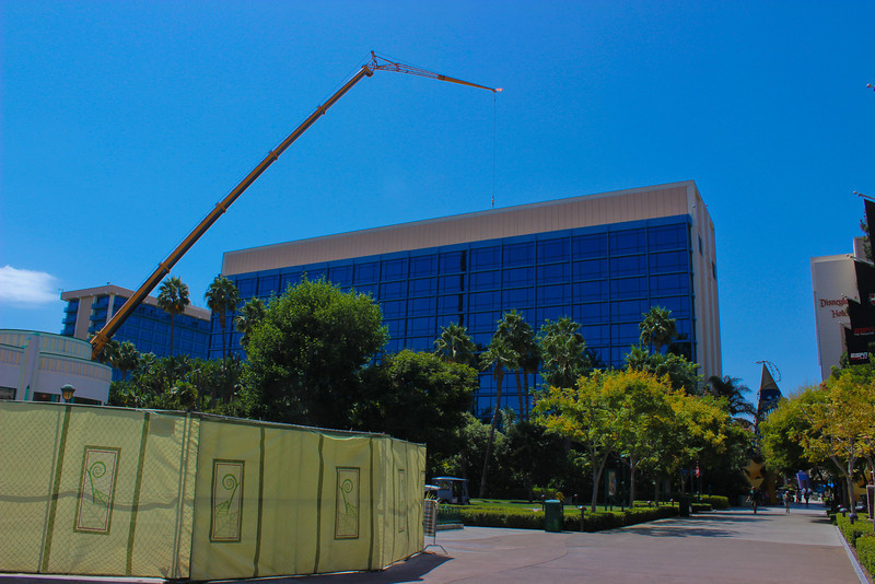Heavy construction work on the Disneyland Hotel.