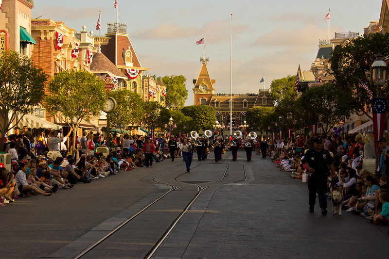 The 3rd Division Marine Aircraft Wing Band makes it's way down Main Street USA.