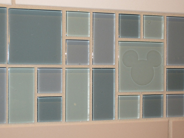 Even the tile of the shower/tub had hidden Mickeys!