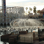 After DCA closed, World of Color fountain testing commenced