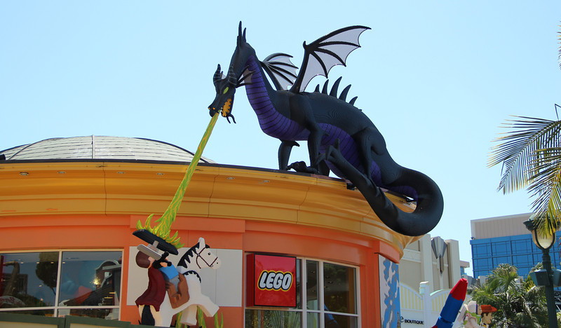 The new Downtown Disney Lego Store is now on display for park guests and Anaheim residents to enjoy. An enormous model of a dragon most likely named 'Murphy' adorns the exterior - a new 'must see' stop for any Disneyland visitor.
