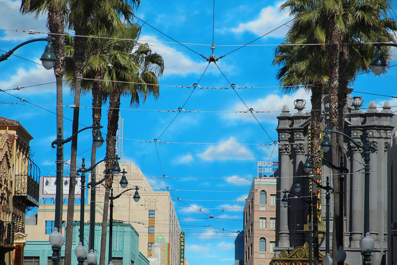 Overhead catenary in Hollywood Land