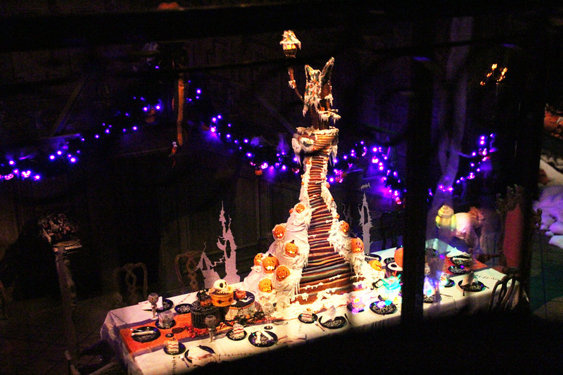 The impressively tall 2012 'Haunted Mansion Holiday' ginger-dread house.