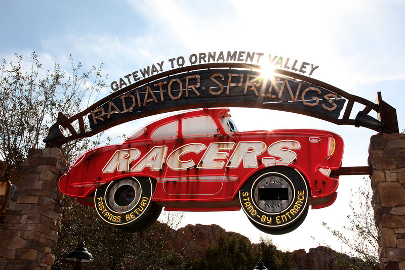 RADIATOR SPRINGS RACERS -- Disney California Adventure park guests will pass under a themed archway to enter Radiator Springs Racers in Cars Land at the Disneyland Resort. The