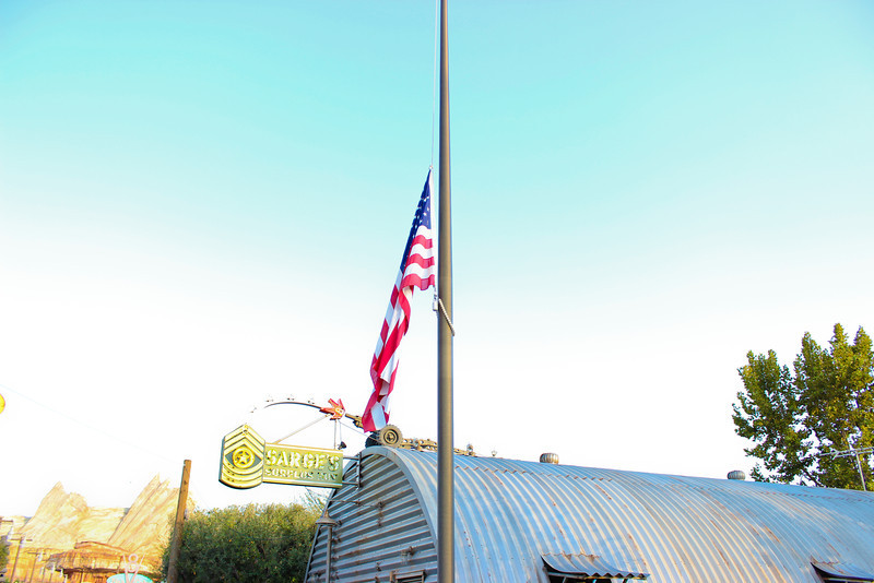 Half-staff, even at Sarge's for the shooting victims in  Wisconsin.