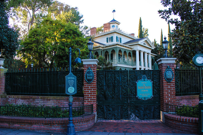 Haunted Mansion Holiday decorations being taken down.