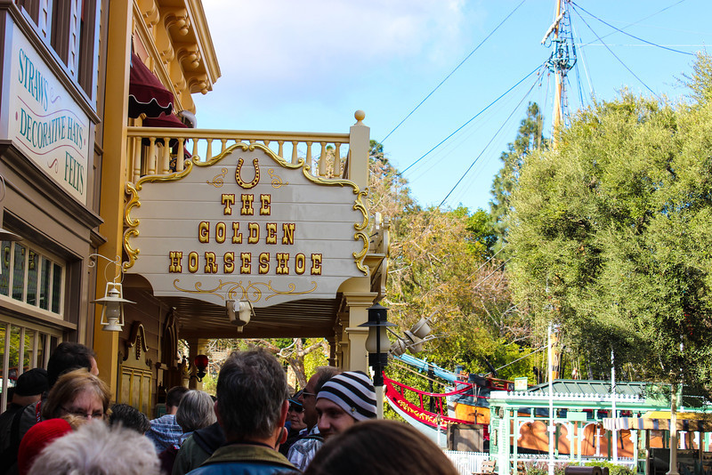 There was already a line at park opening to reserve a spot to see the Golden Horseshoe Revue.