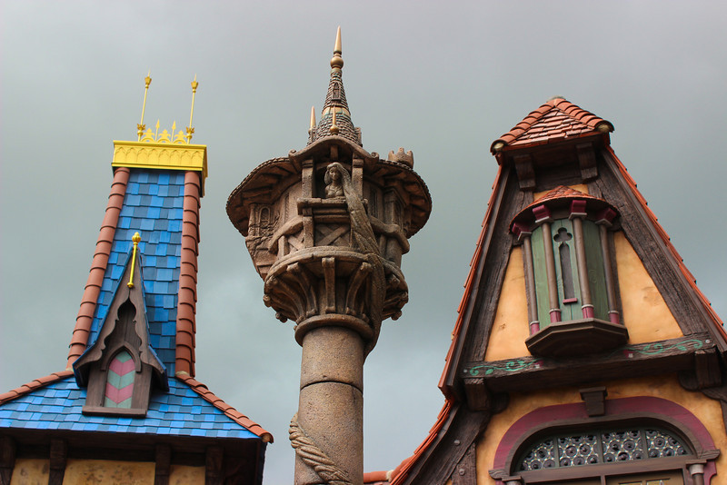 Repunzel's tower is in the center of the square.