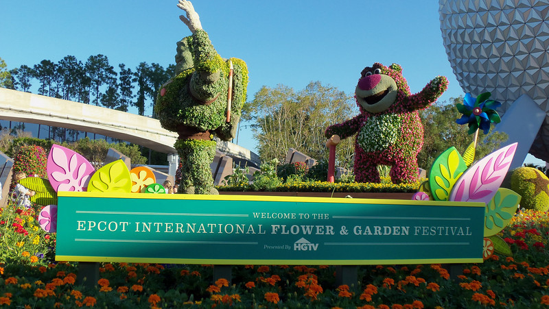 New Toy Story topiaries in front of the park