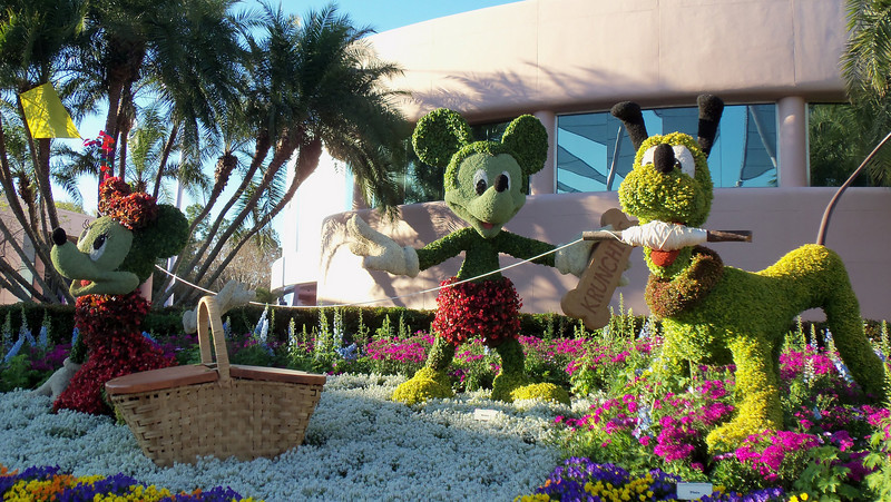 New Mickey and friends topiary near the entrance