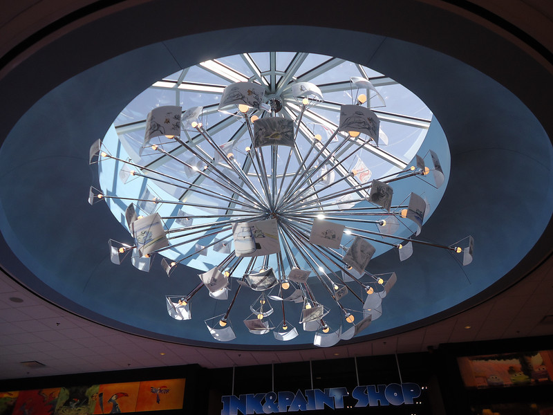 Concept from the four films makes up this awesome lighting fixture- look for the hidden John Lasseter signature :)