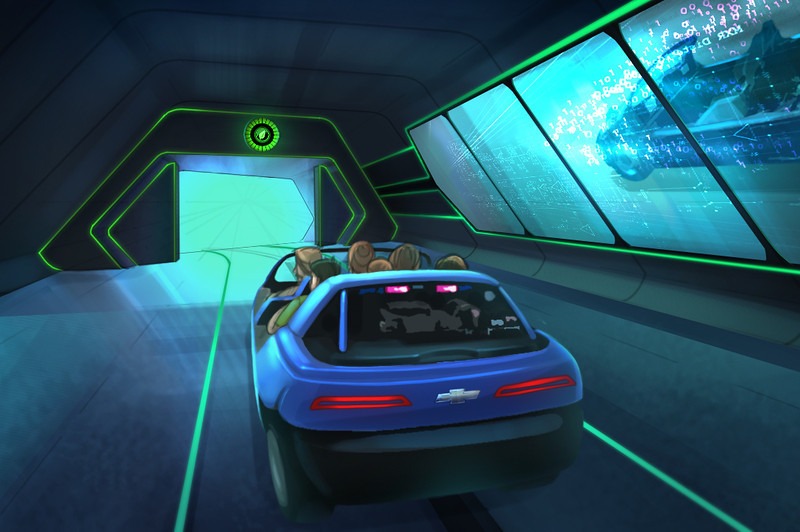 "Test Track by Chevrolet will feature a sleek new look and experience when it opens Dec. 6, 2012. Guests will be able to virtually create their own custom-concept vehicles inside the ""Chevrolet Design Center at Epcot"" prior to buckling into their six-person ""SimCar"" ride. Each vehicle is scored on four performance attributes; this rendering shows a vehicle being measured for efficiency. Epcot is located at the Walt Disney World Resort in Lake Buena Vista, Fla."