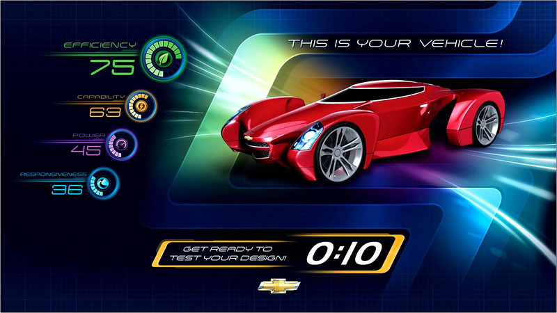 """Opening Dec. 6, 2012, Test Track by Chevrolet will feature a sleek new """"Chevrolet Design Center at Epcot"""" where guests will virtually create their own custom-concept vehicles prior to buckling into their six-person """"SimCar"""" ride. This rendering depicts a vehicle's on-screen representation featuring four performance attributes scored on the Test Track circuit: capability, efficiency, responsiveness and power. Epcot is located at the Walt Disney World Resort in Lake Buena Vista, Fla."""